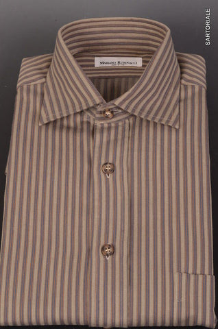 RUBINACCI Napoli Gray Striped Cotton Casual Shirt 40 NEW 15.75 Classic Fit - SARTORIALE - 1