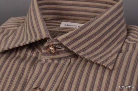 RUBINACCI Napoli Gray Striped Cotton Casual Shirt 40 NEW 15.75 Classic Fit - SARTORIALE - 2