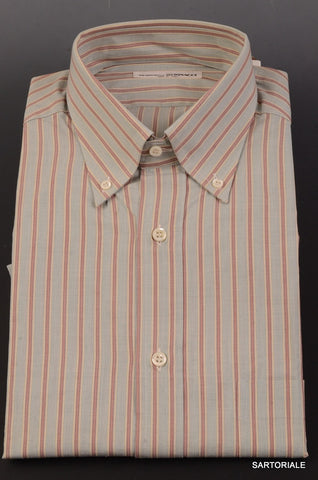 RUBINACCI Napoli Green Striped Cotton Button Down Casual Shirt 41 NEW 16 Classic - SARTORIALE - 1