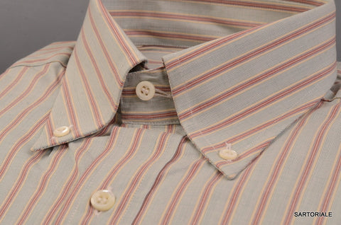 RUBINACCI Napoli Green Striped Cotton Button Down Casual Shirt 41 NEW 16 Classic - SARTORIALE - 2