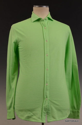 RUBINACCI Napoli Solid Green Cotton Casual Long Sleeve Polo Shirt 52 NEW US L - SARTORIALE - 1