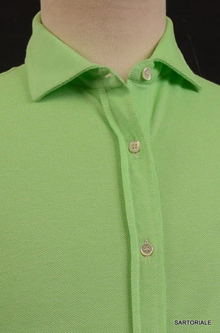 RUBINACCI Napoli Solid Green Cotton Casual Long Sleeve Polo Shirt 52 NEW US L - SARTORIALE - 2