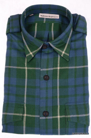 RUBINACCI Napoli Green Plaid Cotton Casual Shirt US 15.75 M NEW EU 40 Regular - SARTORIALE - 1