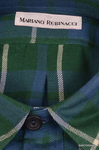 RUBINACCI Napoli Green Plaid Cotton Casual Shirt US 15.75 M NEW EU 40 Regular - SARTORIALE - 2