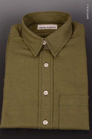 RUBINACCI Napoli Solid Green Cotton Casual Shirt EU 40 NEW US 15.75 Classic Fit - SARTORIALE - 1