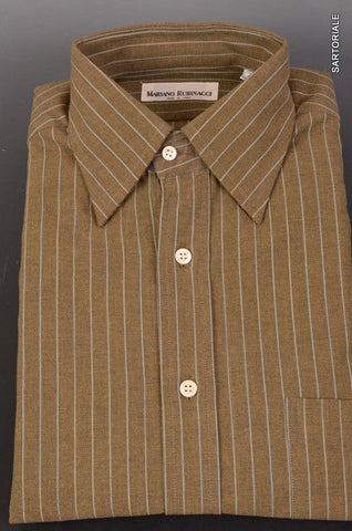 RUBINACCI Napoli Green Striped Cotton Casual Shirt 40 NEW US 15.75 Classic Fit - SARTORIALE - 1