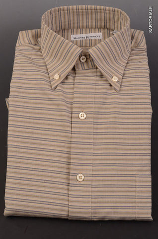 RUBINACCI Napoli Khaki Striped Cotton Button Down Shirt 40 NEW 15.75 Classic Fit - SARTORIALE - 1