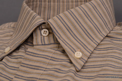 RUBINACCI Napoli Khaki Striped Cotton Button Down Shirt 40 NEW 15.75 Classic Fit - SARTORIALE - 2