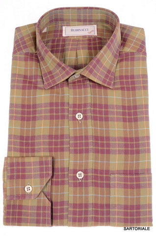 RUBINACCI Napoli Olive-Burgundy Plaid Cotton Casual Shirt EU 40 NEW US 15.75 M - SARTORIALE - 1