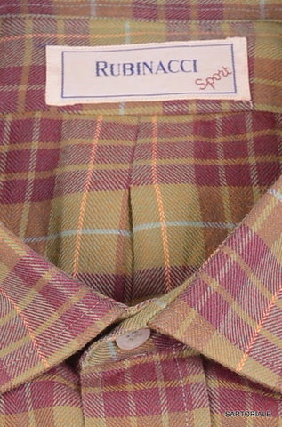 RUBINACCI Napoli Olive-Burgundy Plaid Cotton Casual Shirt EU 40 NEW US 15.75 M - SARTORIALE - 2
