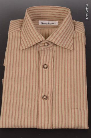 RUBINACCI Napoli Olive Green Striped Cotton Casual Shirt 40 NEW 15.75Classic Fit - SARTORIALE - 1
