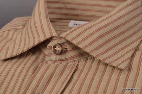 RUBINACCI Napoli Olive Green Striped Cotton Casual Shirt 40 NEW 15.75Classic Fit - SARTORIALE - 2