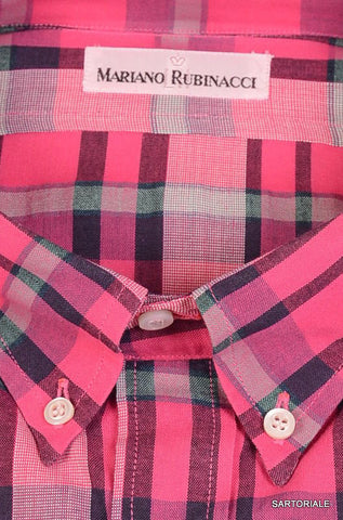 RUBINACCI Napoli Pink Plaid Cotton Button-Down Casual Shirt NEW Regular FIt - SARTORIALE - 2