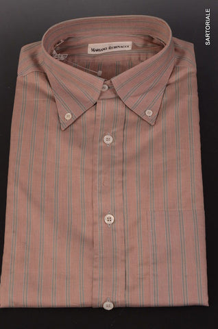 RUBINACCI Napoli Red Striped Cotton Button-Down Casual Shirt 40 NEW 15.75Reg Fit - SARTORIALE - 1