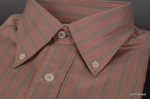 RUBINACCI Napoli Red Striped Cotton Button-Down Casual Shirt 40 NEW 15.75Reg Fit - SARTORIALE - 2