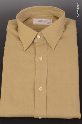 "RUBINACCI Napoli ""Rubinacci Sport"" Green Wool-Cotton Casual Shirt 40 NEW 15.75 - SARTORIALE - 1"