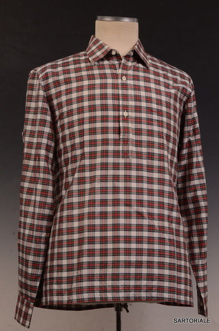 "RUBINACCI Napoli Red Silk Plaid ""Polo Neck"" Lapo Shirt 40 NEW 15.75 Classic Fit - SARTORIALE - 1"