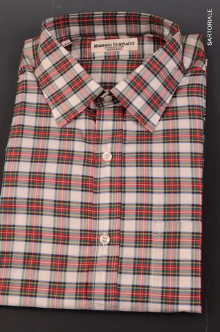 "RUBINACCI Napoli Red Silk Plaid ""Polo Neck"" Lapo Shirt 40 NEW 15.75 Classic Fit - SARTORIALE - 2"