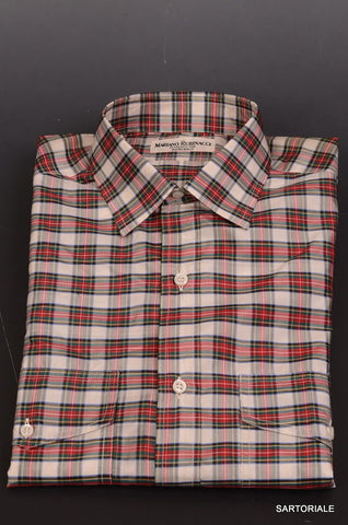 RUBINACCI Napoli Red Tartan Plaid Silk Casual Shirt EU 39 NEW US 15.5 Classic Fi - SARTORIALE - 1
