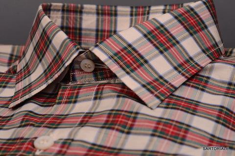 RUBINACCI Napoli Red Tartan Plaid Silk Casual Shirt EU 39 NEW US 15.5 Classic Fi - SARTORIALE - 2