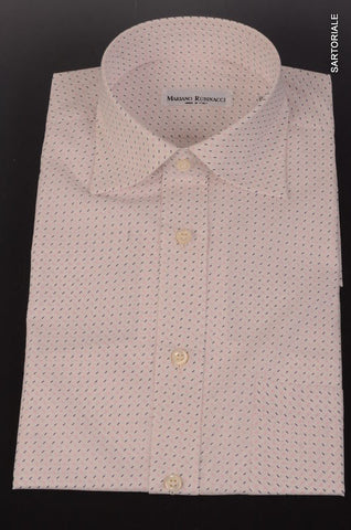 RUBINACCI Napoli White Geometric Cotton Short Sleeve Casual Shirt NEW ClassicFit - SARTORIALE - 1