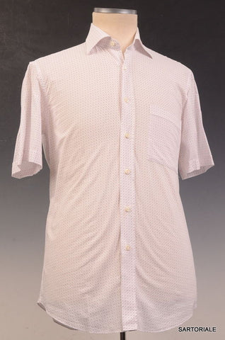 RUBINACCI Napoli White Geometric Cotton Short Sleeve Casual Shirt NEW ClassicFit - SARTORIALE - 2