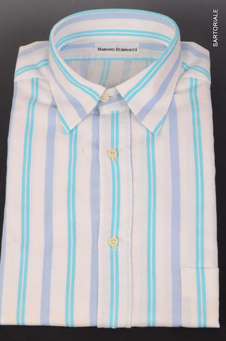 RUBINACCI Napoli White Striped Cotton Casual Shirt EU 41 NEW US 16 Regular Fit - SARTORIALE - 1