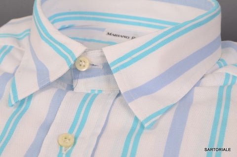 RUBINACCI Napoli White Striped Cotton Casual Shirt EU 41 NEW US 16 Regular Fit - SARTORIALE - 2