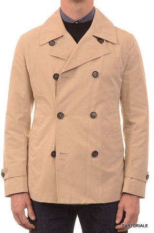 ISAIA Napoli Beige Cotton-Poly Double Breasted Peacoat Coat Jacket 40 M NEW 50 - SARTORIALE - 1