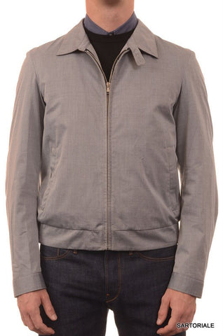 ISAIA Napoli Gray Wool-Cotton-Silk Basic Flight Jacket US 40 M NEW EU 50 Leather - SARTORIALE - 1