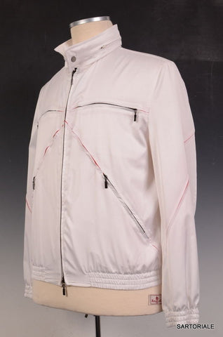 KITON Napoli White Silk Windbreaker Jacket EU 52 NEW US 40 42 - SARTORIALE - 1