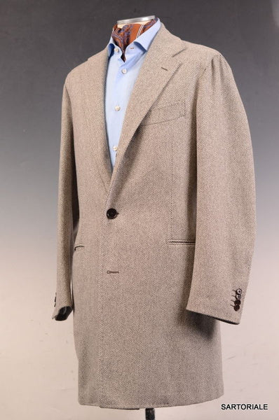 LUIGI BORRELLI Napoli Gray Wool Slim Over Coat EU 50 NEW US 38 - SARTORIALE - 1