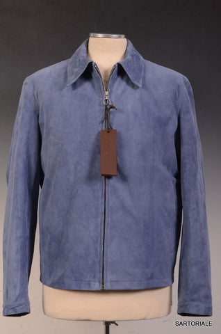 SERAPHIN Made In France Solid Blue Goat Leather Suede Jacket FR 44 US M - SARTORIALE - 1