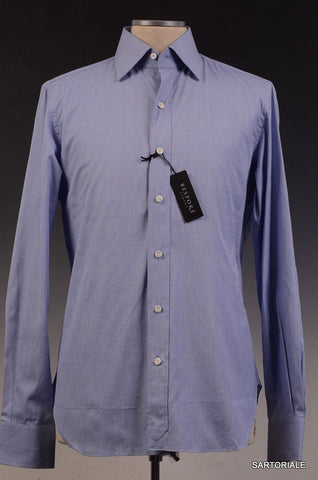 BESPOKE ATHENS Handmade Blue Cotton Dress Shirt US 15.5 NEW EU 39 - SARTORIALE