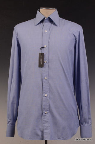 BESPOKE ATHENS Handmade Blue Cotton Dress Shirt US 15.75 NEW EU 40 - SARTORIALE