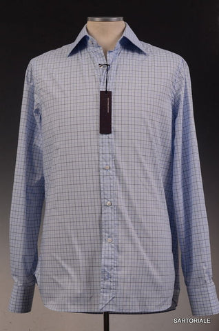 BESPOKE ATHENS Handmade Blue Plaids Cotton Dress Shirt US 17.5 NEW EU 44 - SARTORIALE