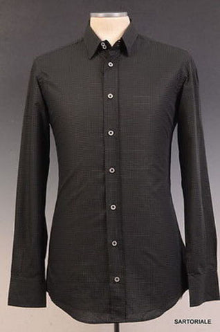DOLCE & GABBANA Made In Italy Black Dotted Cotton Shirt US 15.5 NEW EU 39 - SARTORIALE - 1