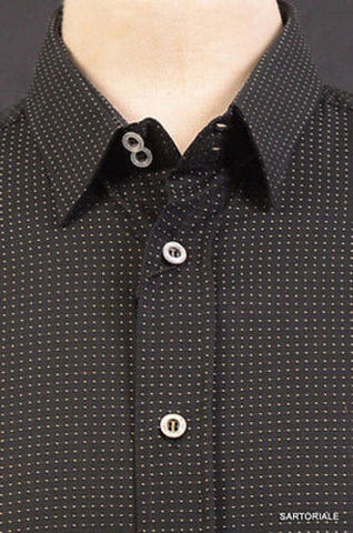 DOLCE & GABBANA Made In Italy Black Dotted Cotton Shirt US 15.5 NEW EU 39 - SARTORIALE - 2