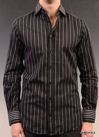 DOLCE&GABBANA Black Striped Cotton Slim Fit Dress Shirt US 15.5 NEW EU 39 - SARTORIALE - 1