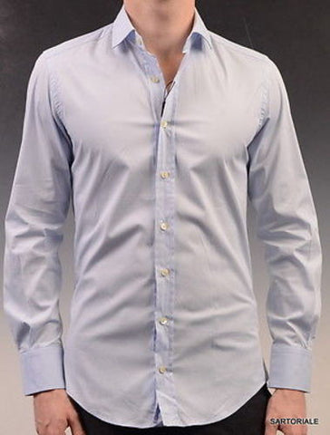 DOLCE&GABBANA Blue Cotton Solid Slim Fit Dress Shirt US 15.5 NEW EU 39 - SARTORIALE - 1