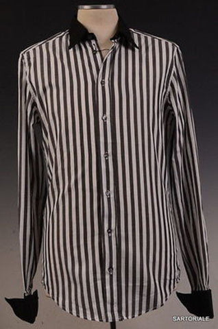 DOLCE & GABBANA D&G White Striped Cotton Shirt US XS NEW EU 46 French Cuff - SARTORIALE - 1