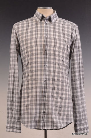 "DOLCE & GABBANA ""GOLD"" Gray Plaid Cotton Casual Shirt US 15.75 NEW EU 40 - SARTORIALE - 1"