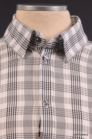 "DOLCE & GABBANA ""GOLD"" Gray Plaid Cotton Casual Shirt US 15.75 NEW EU 40 - SARTORIALE - 2"