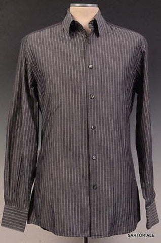 DOLCE & GABBANA Gray Striped Cotton Shirt US 15.5 NEW EU 39 Slim Fit - SARTORIALE - 1