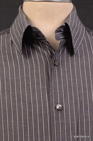DOLCE & GABBANA Gray Striped Cotton Shirt US 15.5 NEW EU 39 Slim Fit - SARTORIALE - 2