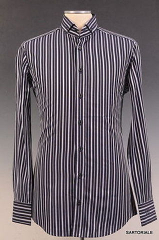 DOLCE & GABBANA Navy Blue Striped Cotton Shirt US 15.5 NEW EU 39 - SARTORIALE - 1