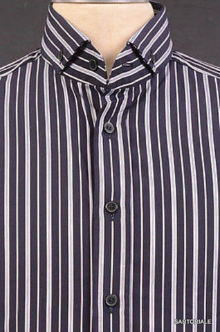 DOLCE & GABBANA Navy Blue Striped Cotton Shirt US 15.5 NEW EU 39 - SARTORIALE - 2