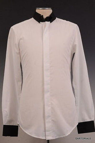 DOLCE & GABBANA White Cotton Button Down Dress Shirt US S NEW EU 48 Slim Fit - SARTORIALE - 1