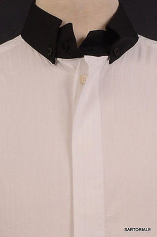 DOLCE & GABBANA White Cotton Button Down Dress Shirt US S NEW EU 48 Slim Fit - SARTORIALE - 2