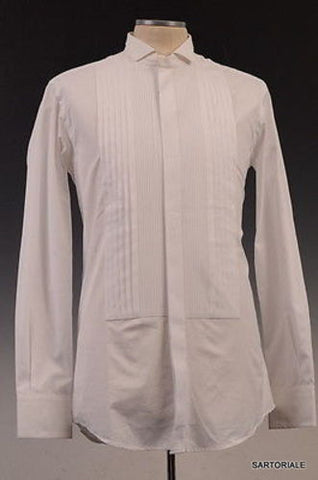 DOLCE&GABBANA White Cotton Slim Fit Tuxedo Shirt US 15.75 Size EU 40 - SARTORIALE - 1